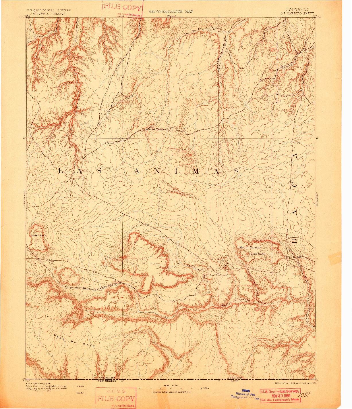 USGS 1:125000-SCALE QUADRANGLE FOR MT CARRIZO, CO 1892
