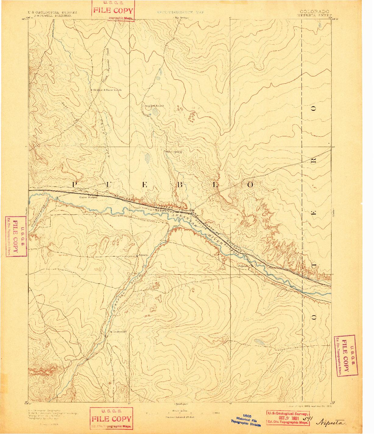 USGS 1:125000-SCALE QUADRANGLE FOR NEPESTA, CO 1893