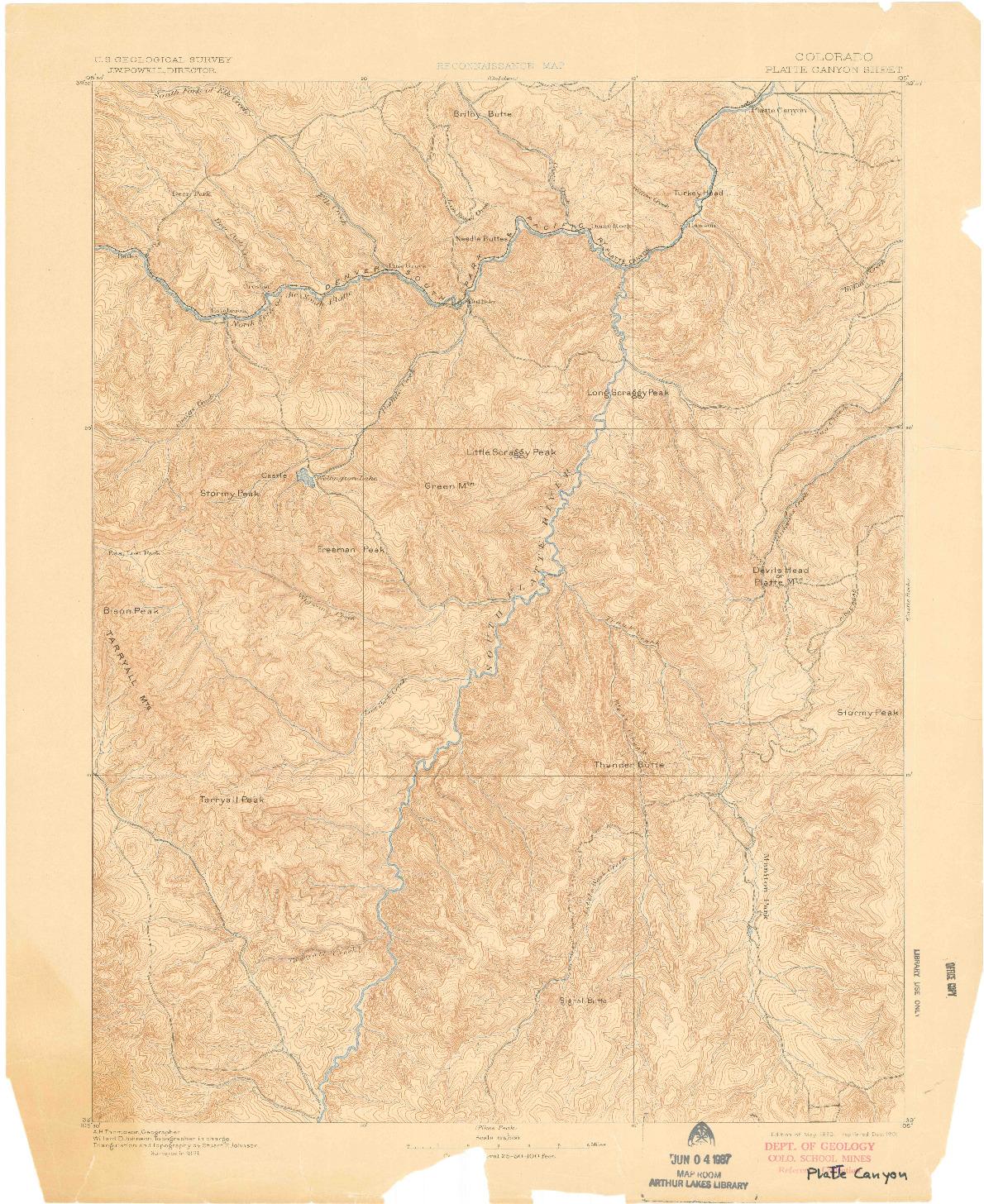 USGS 1:125000-SCALE QUADRANGLE FOR PLATTE CANYON, CO 1893