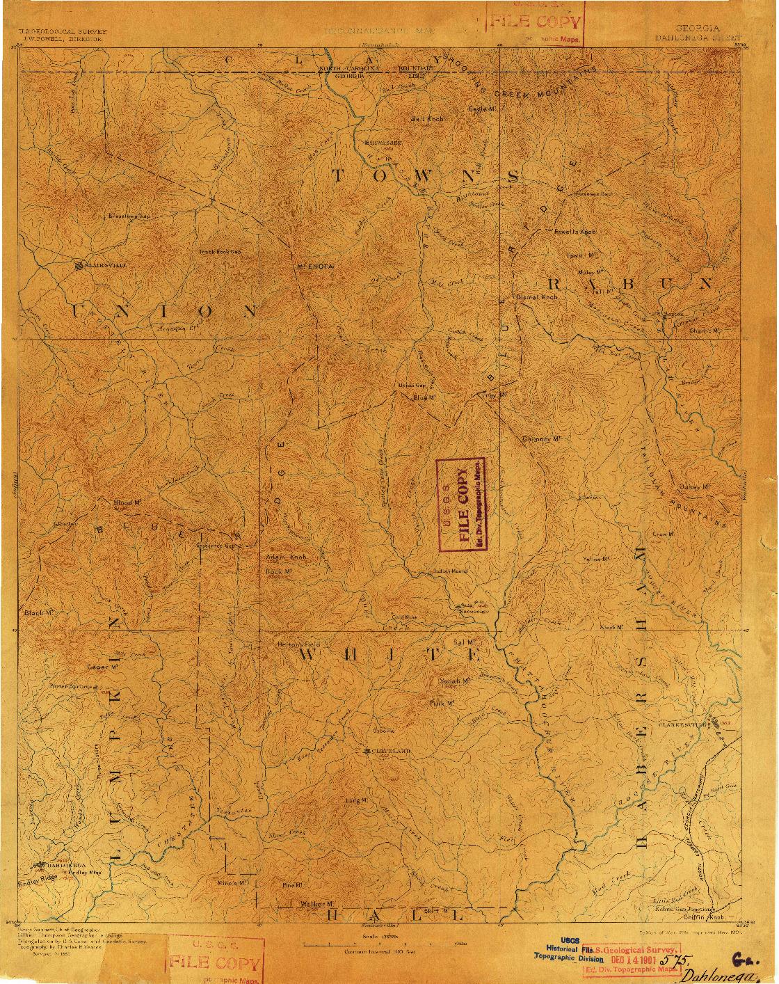 USGS 1:125000-SCALE QUADRANGLE FOR DAHLONEGA, GA 1892