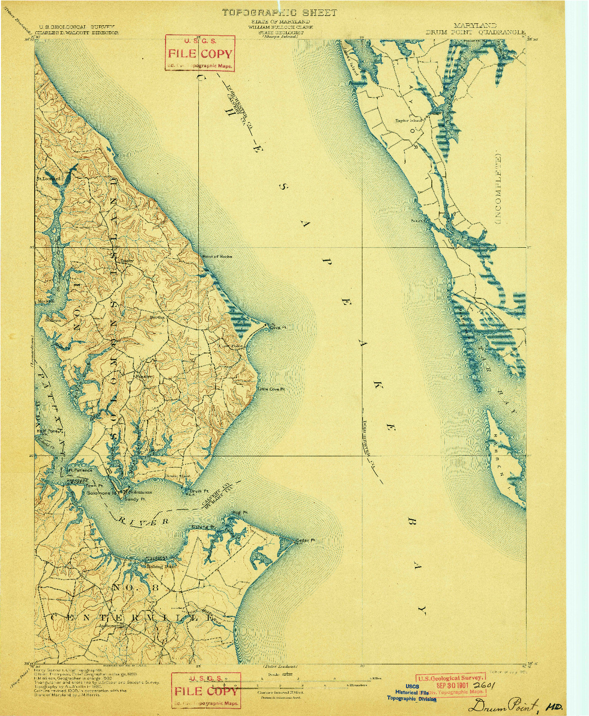 USGS 1:62500-SCALE QUADRANGLE FOR DRUM POINT, MD 1901