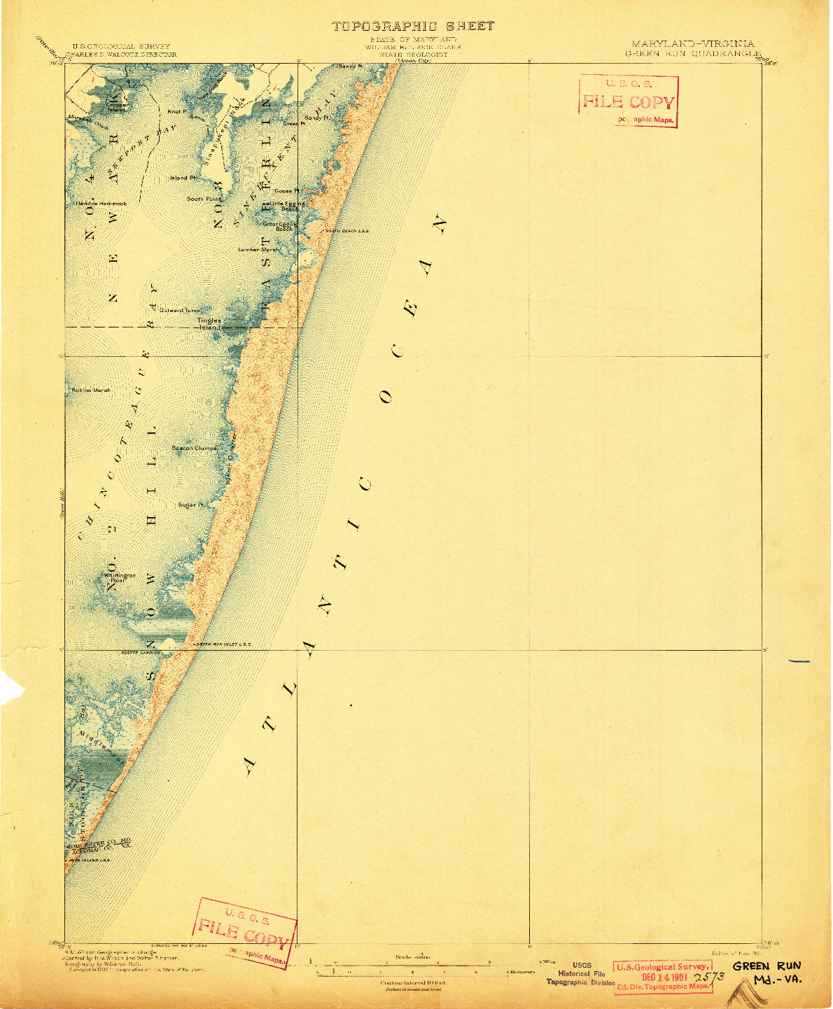 USGS 1:62500-SCALE QUADRANGLE FOR GREEN RUN, MD 1901