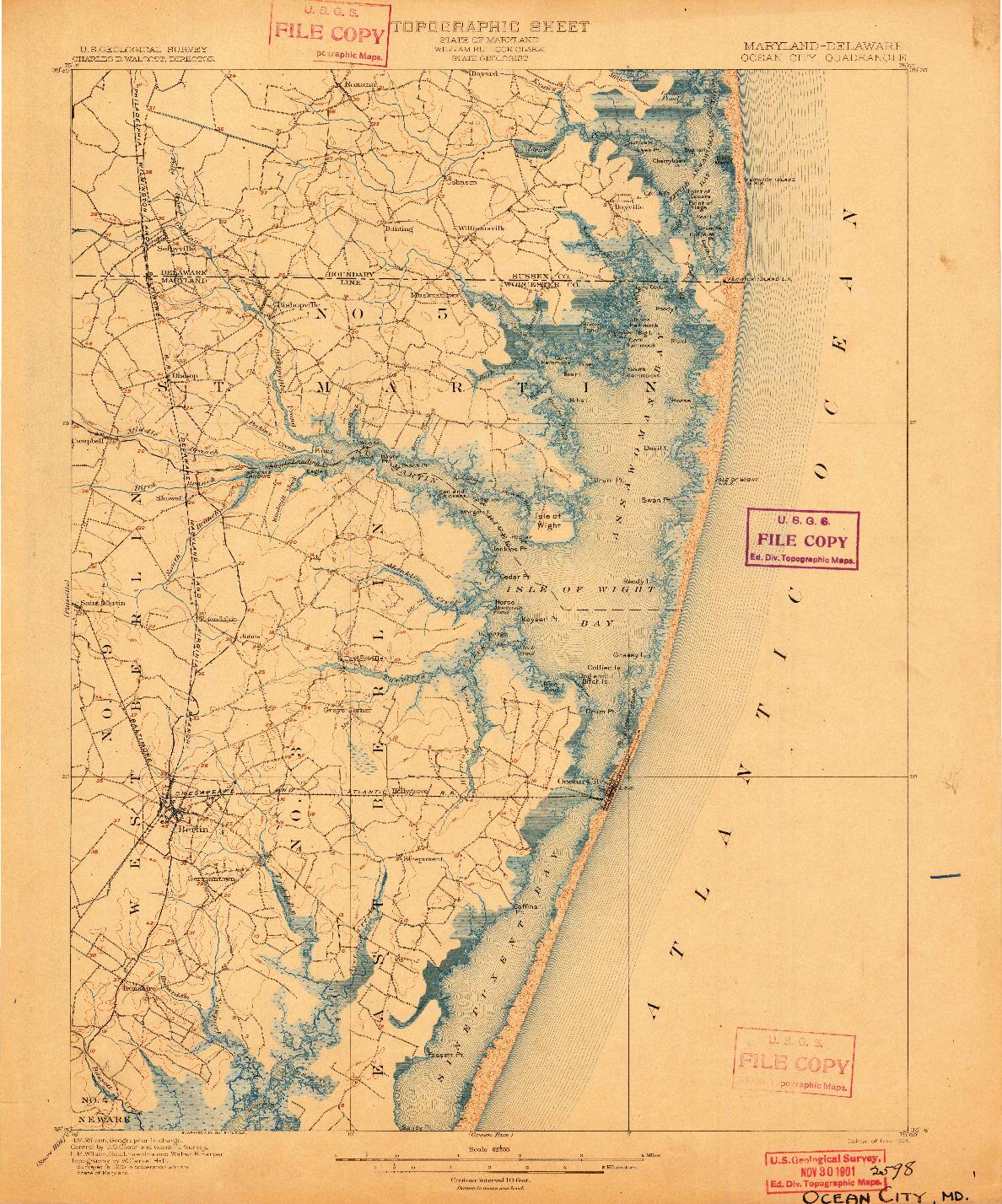 USGS 1:62500-SCALE QUADRANGLE FOR OCEAN CITY, MD 1901