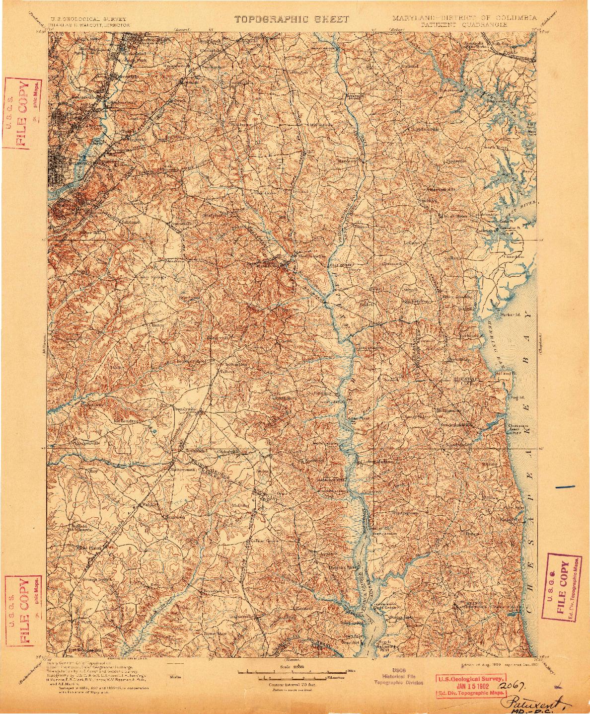 USGS 1:125000-SCALE QUADRANGLE FOR PATUXENT, MD 1899