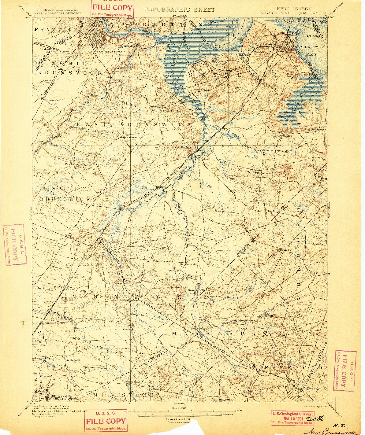 USGS 1:62500-SCALE QUADRANGLE FOR NEW BRUNSWICK, NJ 1901