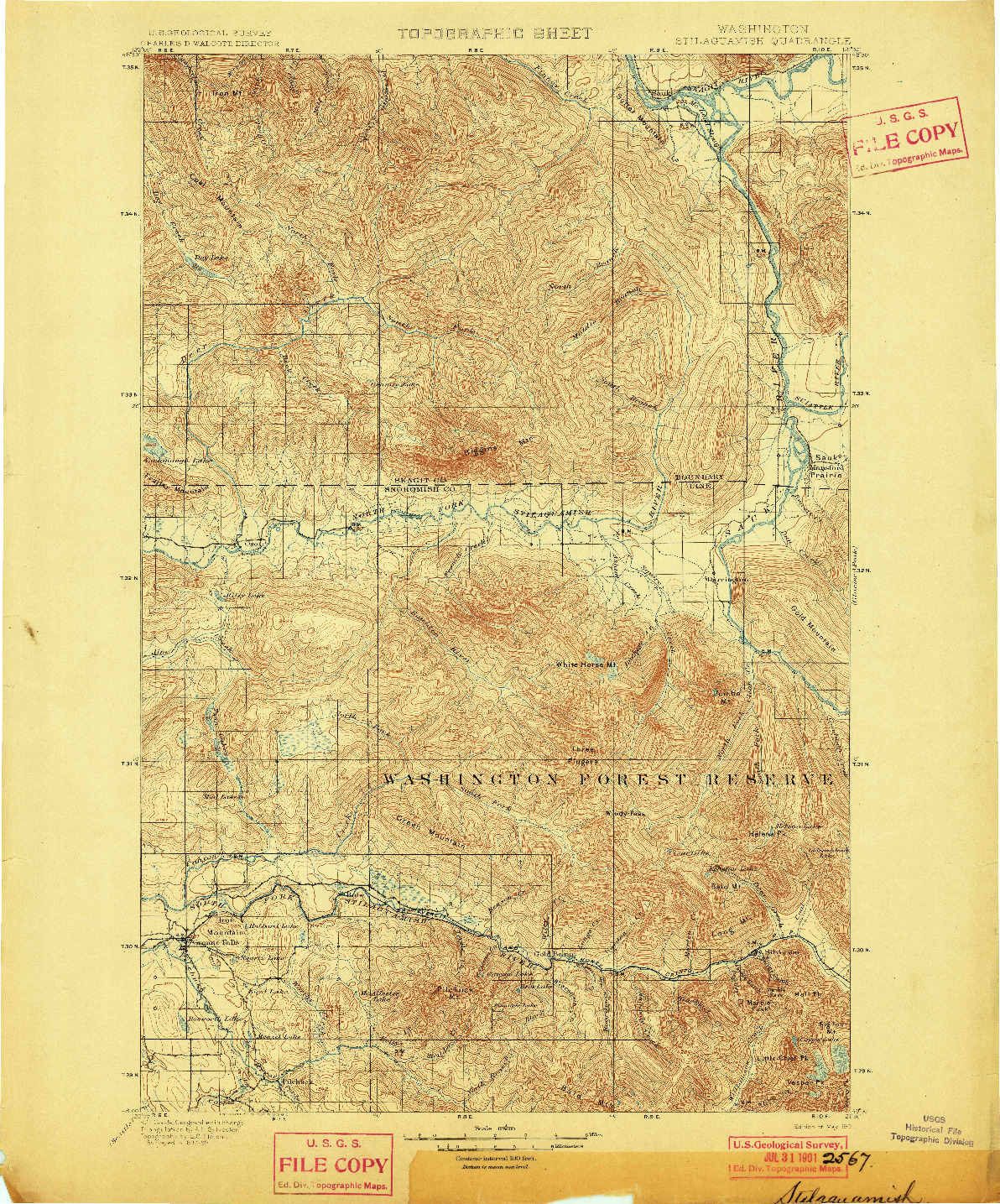 USGS 1:125000-SCALE QUADRANGLE FOR STILAGUAMISH, WA 1901