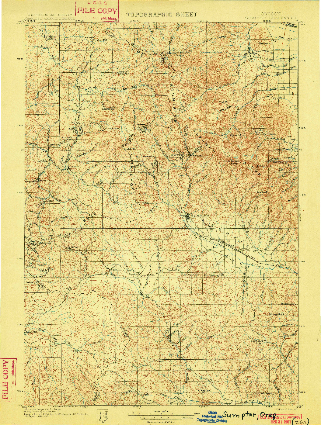 USGS 1:125000-SCALE QUADRANGLE FOR SUMPTER, OR 1901