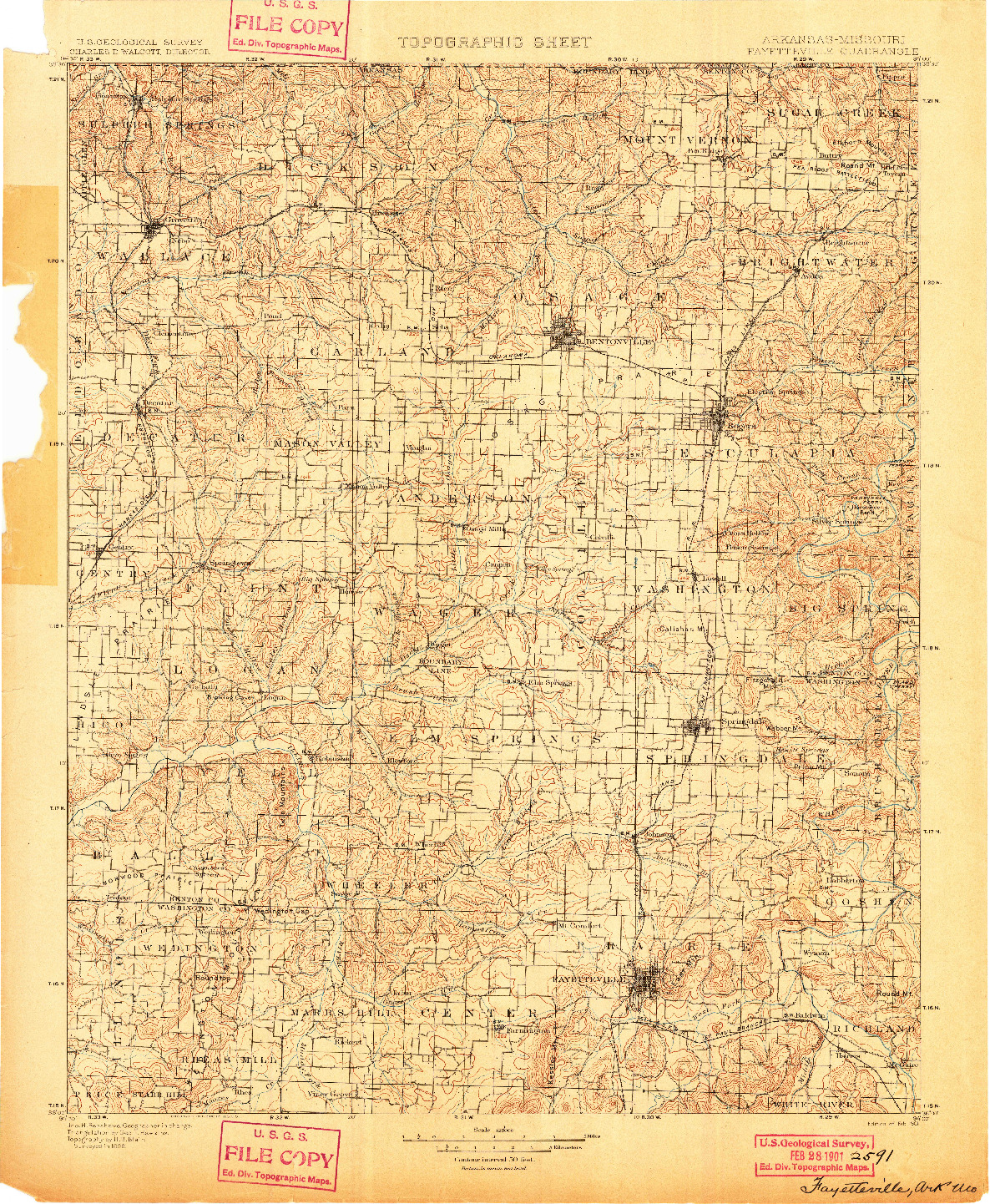 USGS 1:125000-SCALE QUADRANGLE FOR FAYETTEVILLE, AR 1901