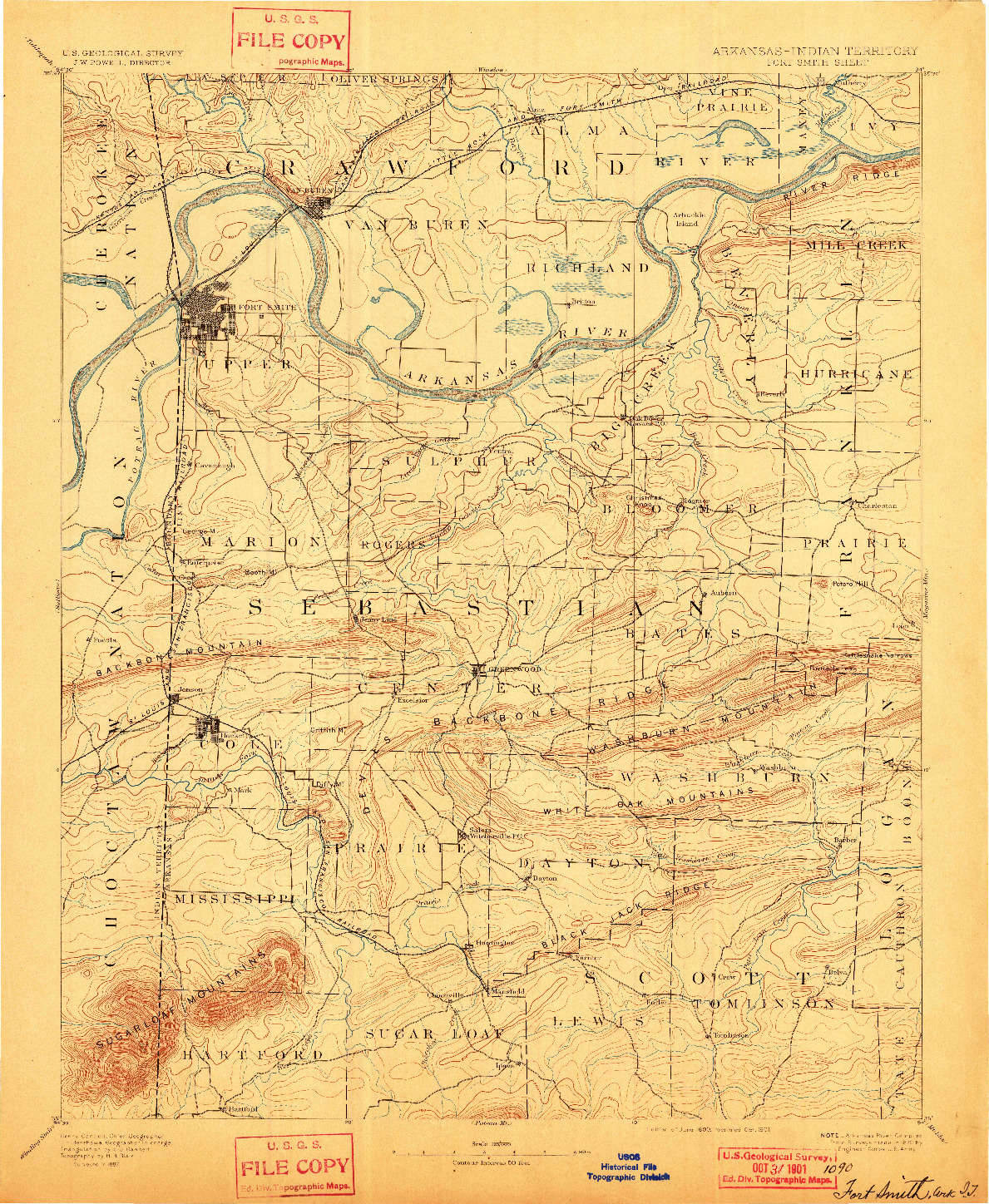 USGS 1:125000-SCALE QUADRANGLE FOR FORT SMITH, AR 1890