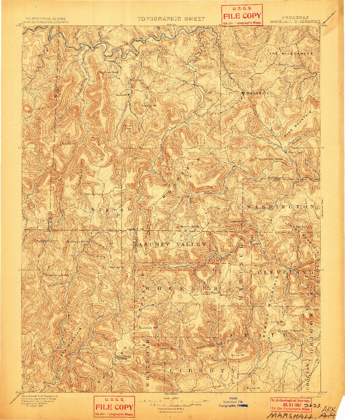 USGS 1:125000-SCALE QUADRANGLE FOR MARSHALL, AR 1901
