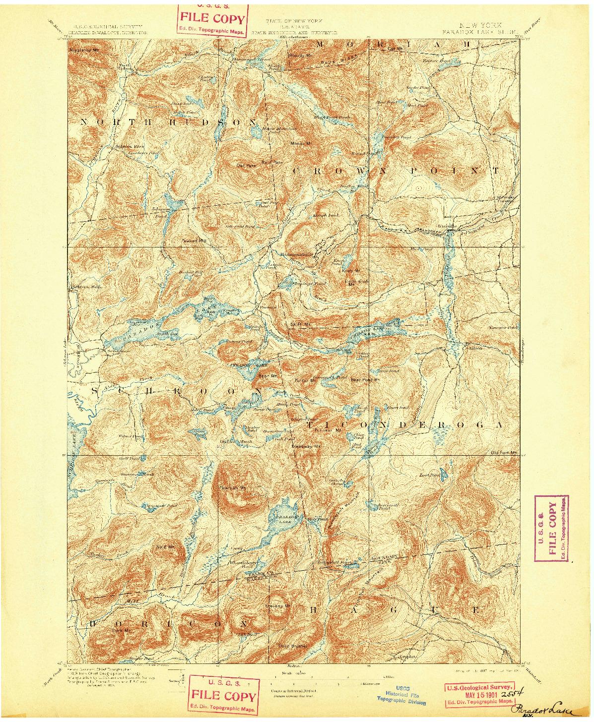 USGS 1:62500-SCALE QUADRANGLE FOR PARADOX LAKE, NY 1897