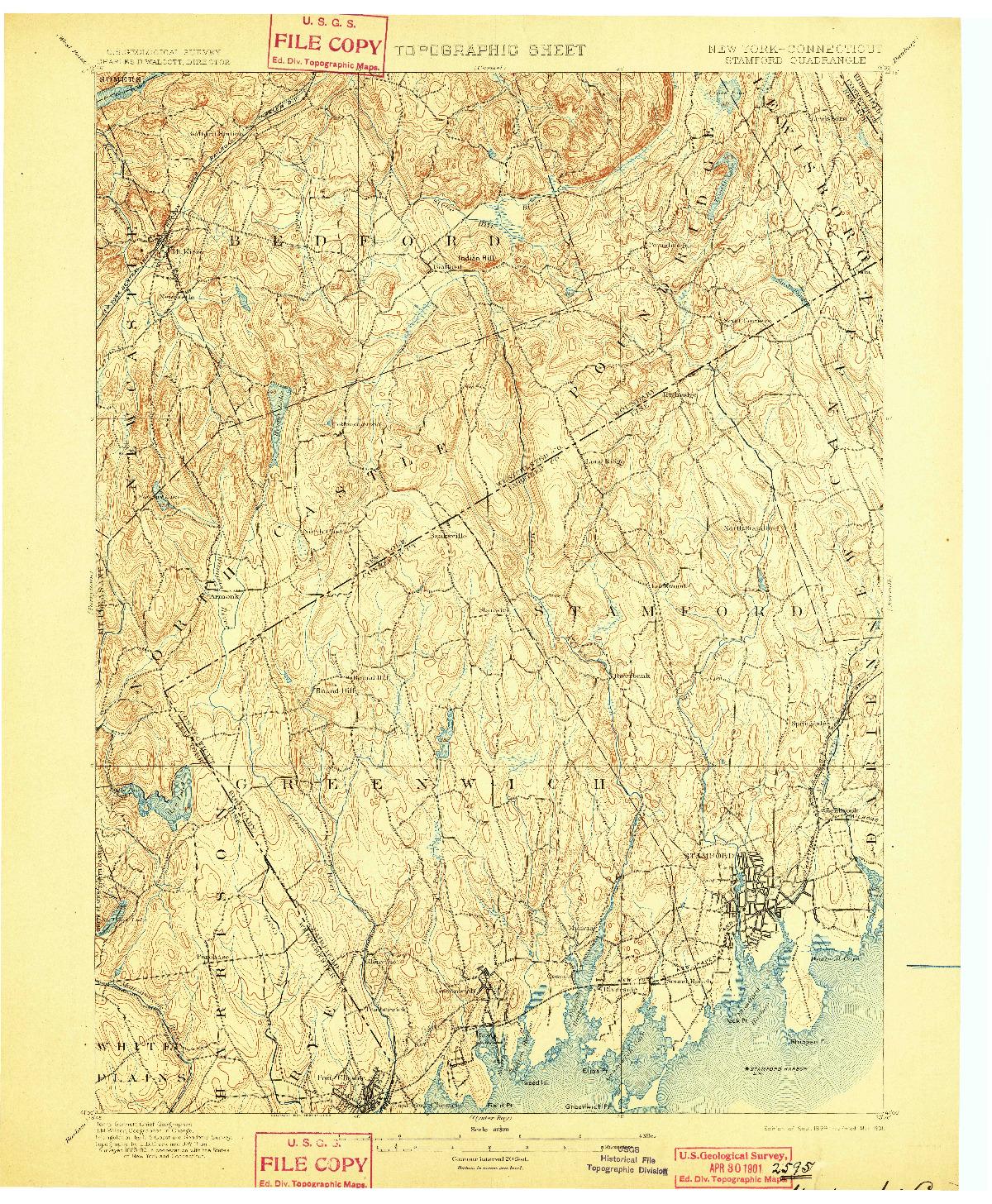 USGS 1:62500-SCALE QUADRANGLE FOR STAMFORD, NY 1899