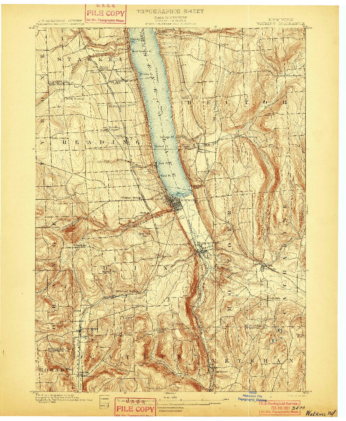 USGS 1:62500-SCALE QUADRANGLE FOR WATKINS, NY 1901