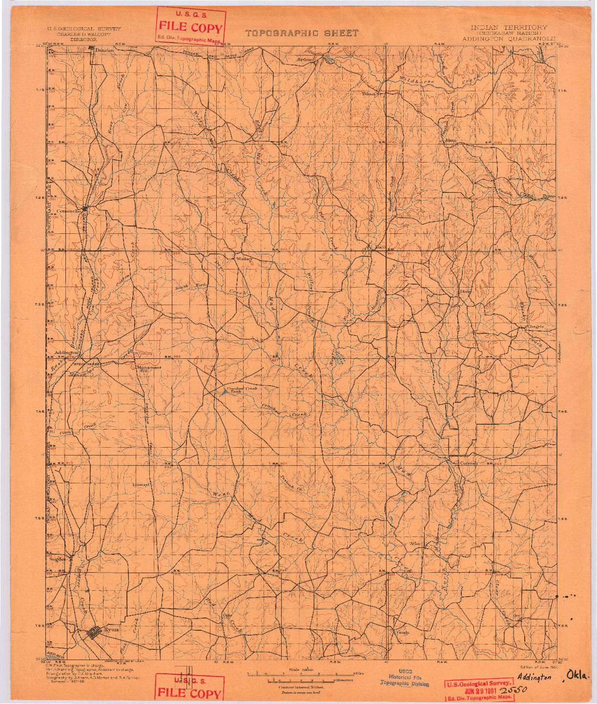 USGS 1:125000-SCALE QUADRANGLE FOR ADDINGTON, IT 1901