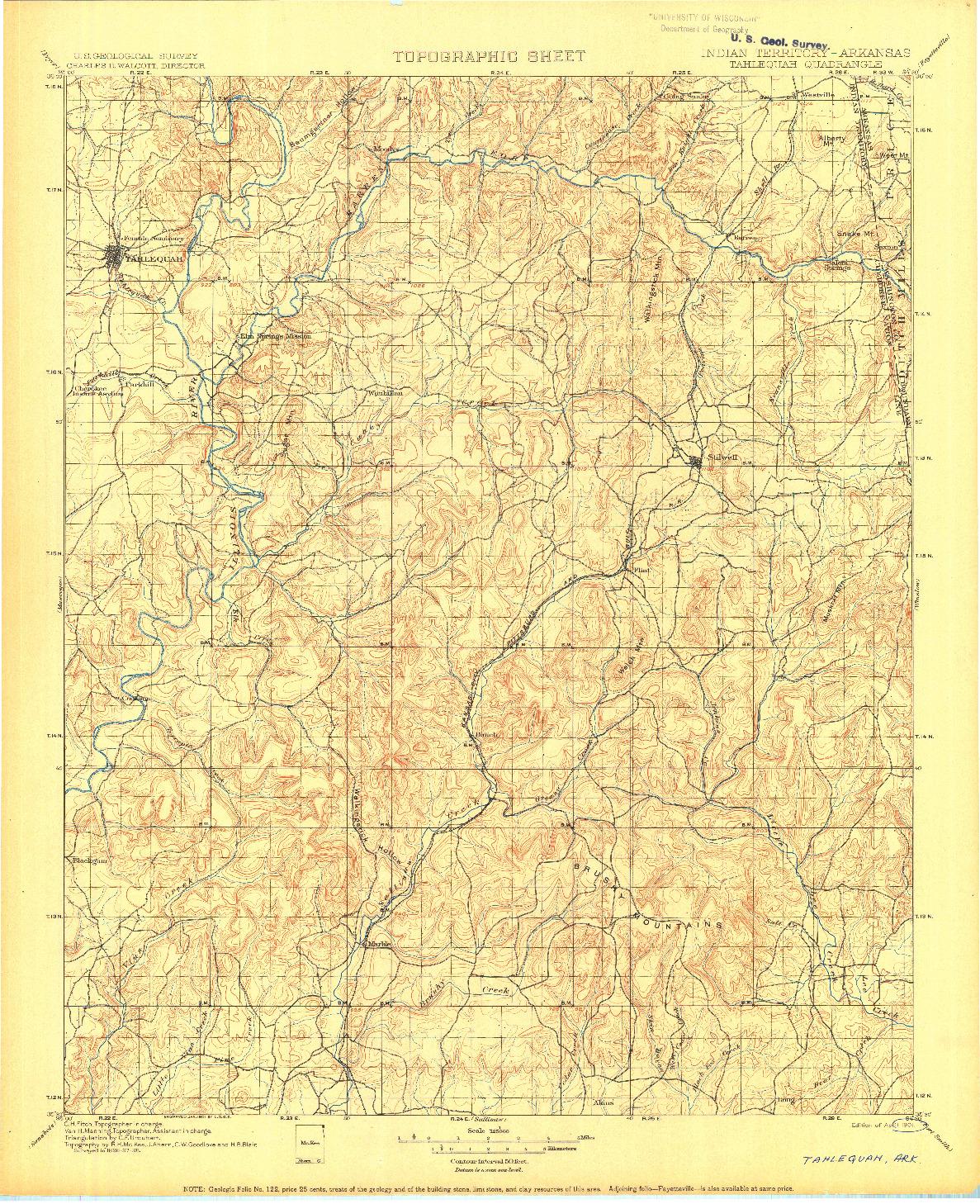 USGS 1:125000-SCALE QUADRANGLE FOR TAHLEQUAH, IT 1901
