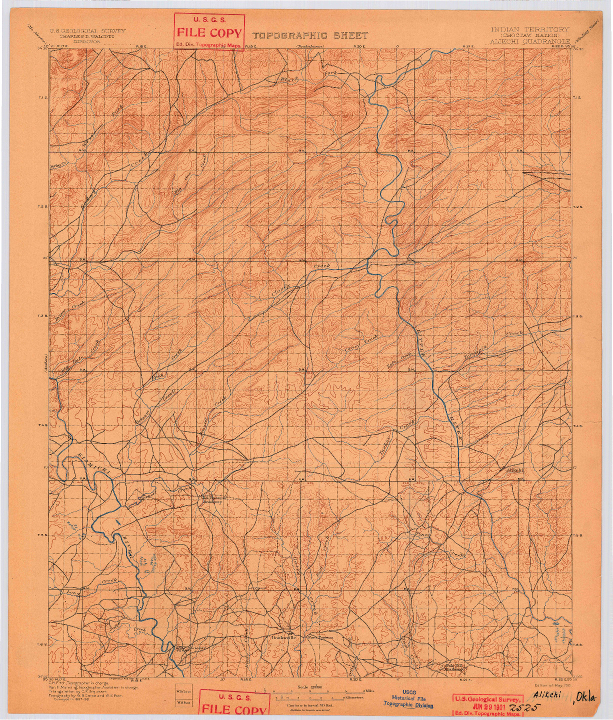USGS 1:125000-SCALE QUADRANGLE FOR ALIKCHI, OK 1901