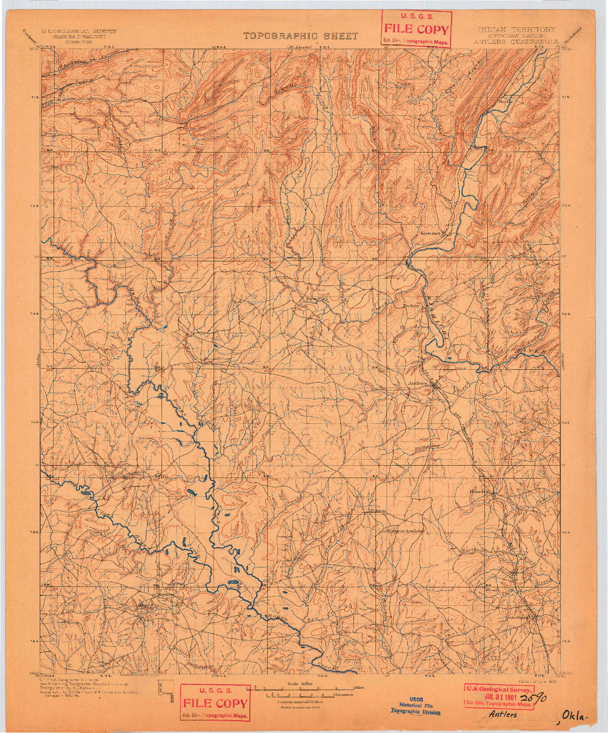 USGS 1:125000-SCALE QUADRANGLE FOR ANTLERS, OK 1901