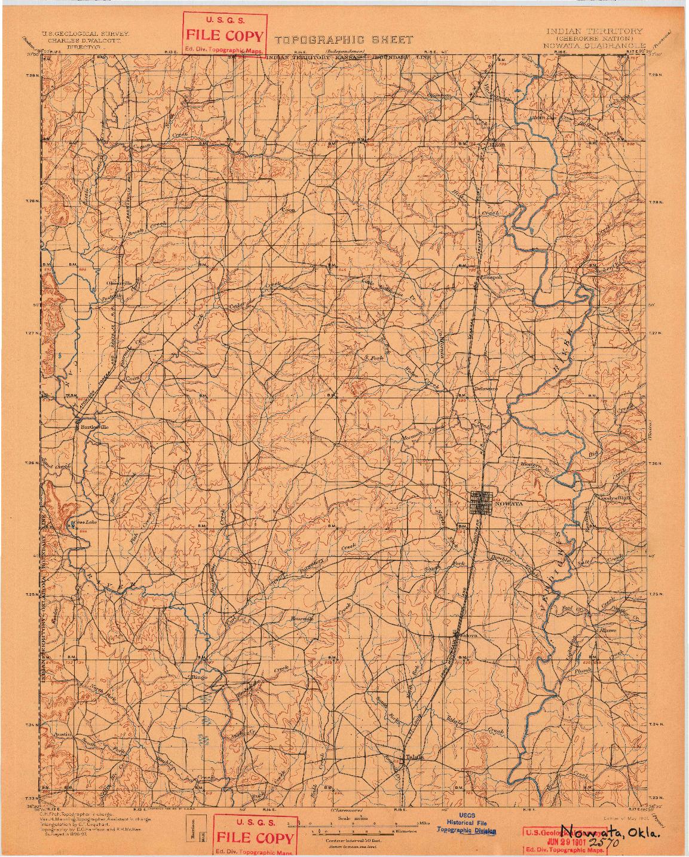 USGS 1:125000-SCALE QUADRANGLE FOR NOWATA, OK 1901
