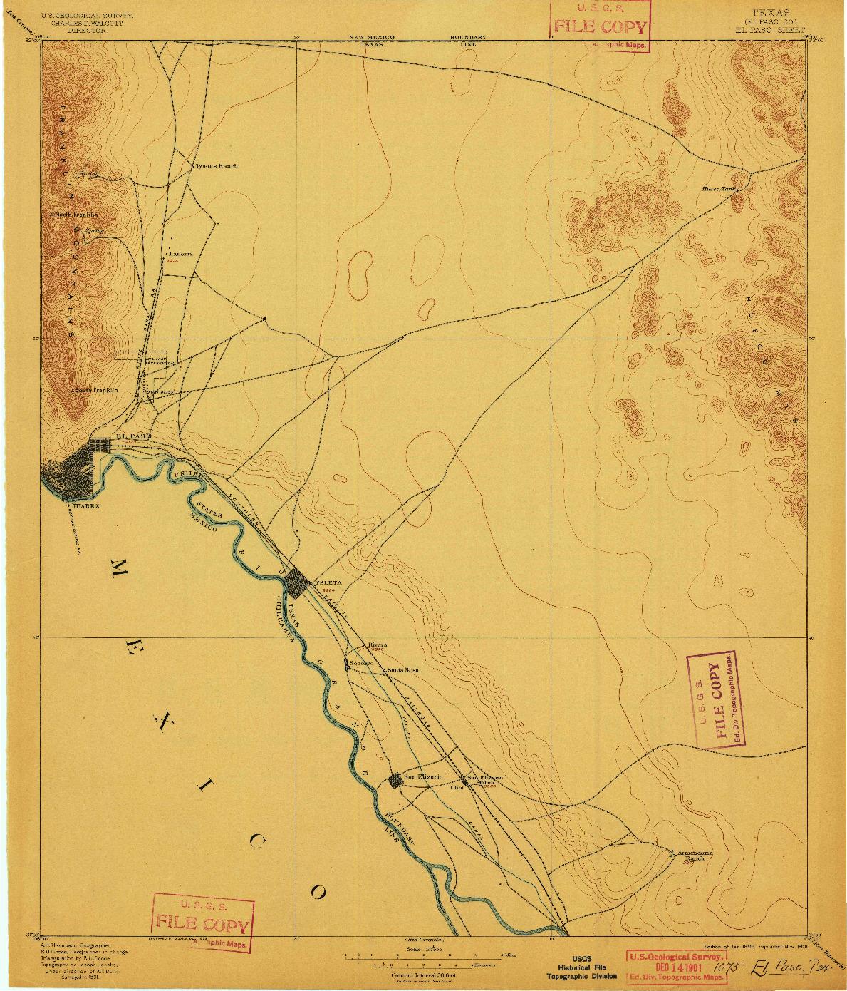 USGS 1:125000-SCALE QUADRANGLE FOR EL PASO, TX 1896
