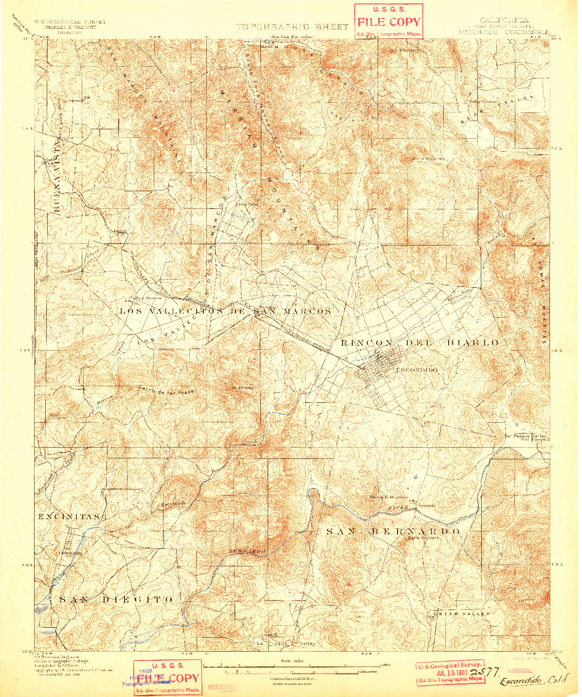 USGS 1:62500-SCALE QUADRANGLE FOR ESCONDIDO, CA 1901