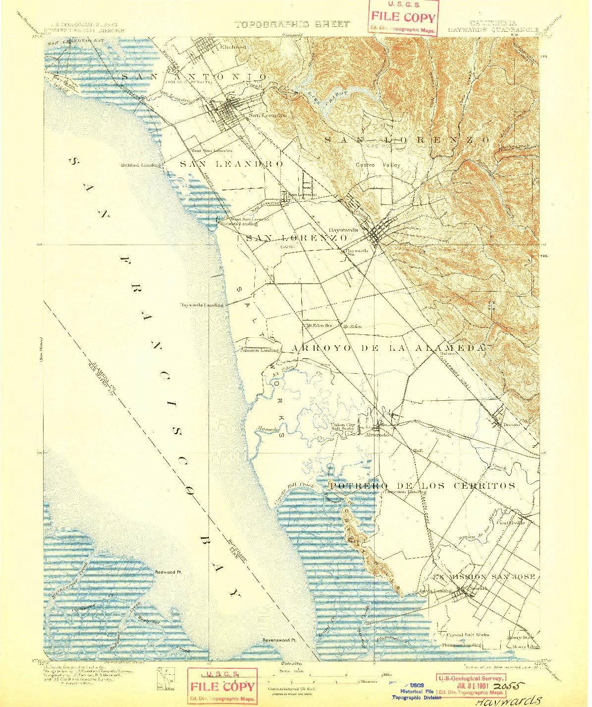 USGS 1:62500-SCALE QUADRANGLE FOR HAYWARDS, CA 1899