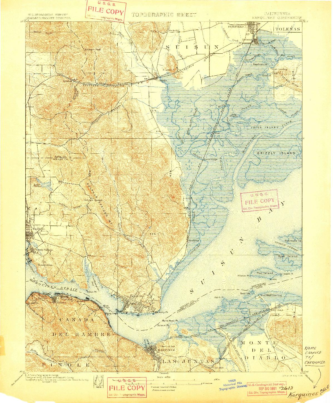 USGS 1:62500-SCALE QUADRANGLE FOR KARQUINES, CA 1901