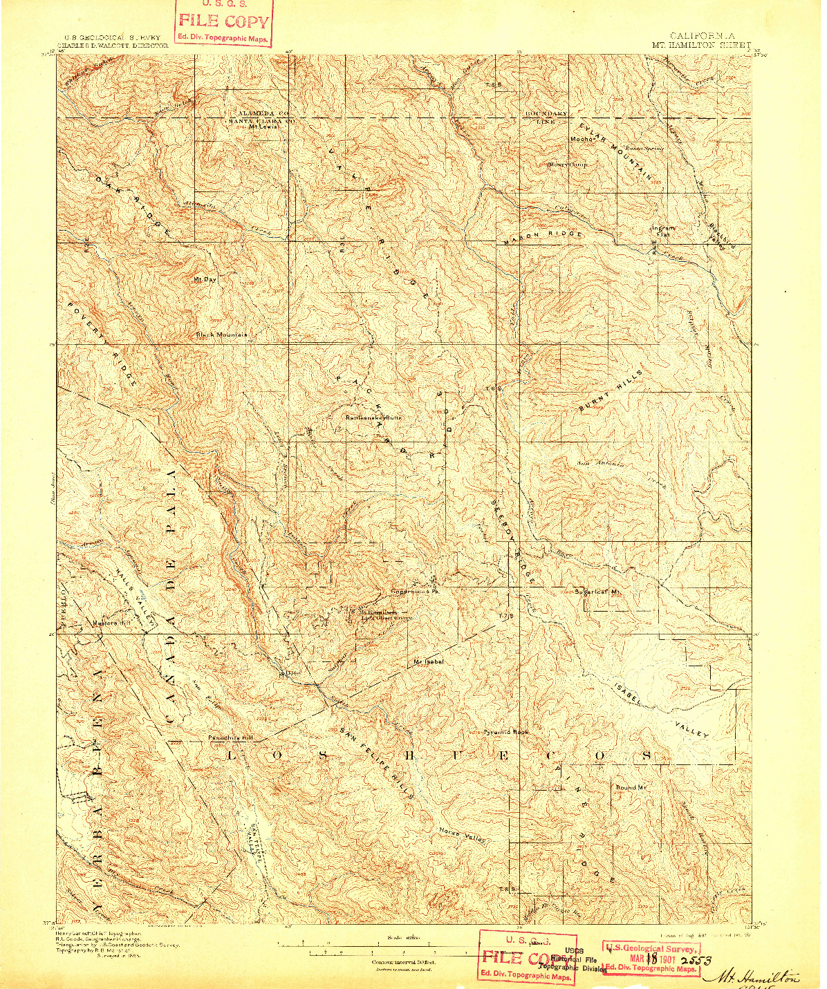 USGS 1:62500-SCALE QUADRANGLE FOR MT. HAMILTON, CA 1897
