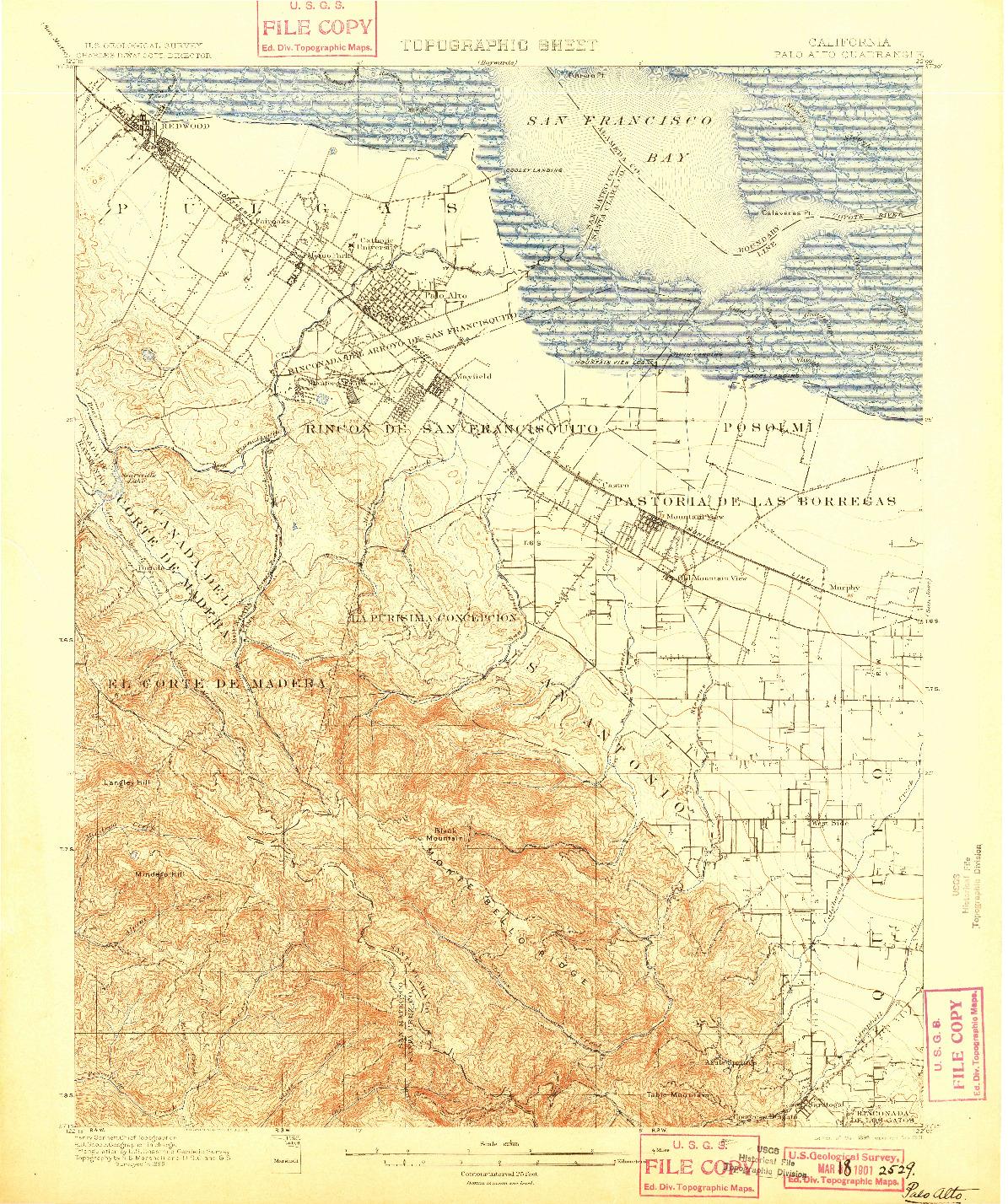 USGS 1:62500-SCALE QUADRANGLE FOR PALO ALTO, CA 1899