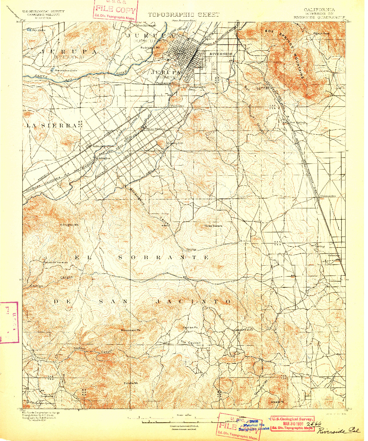 USGS 1:62500-SCALE QUADRANGLE FOR RIVERSIDE, CA 1901