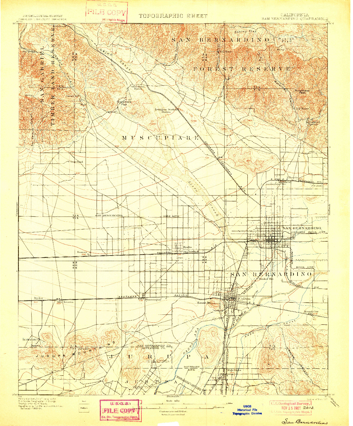 USGS 1:62500-SCALE QUADRANGLE FOR SAN BERNARDINO, CA 1901