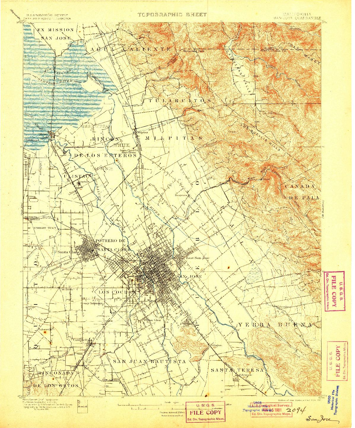 USGS 1:62500-SCALE QUADRANGLE FOR SAN JOSE, CA 1899