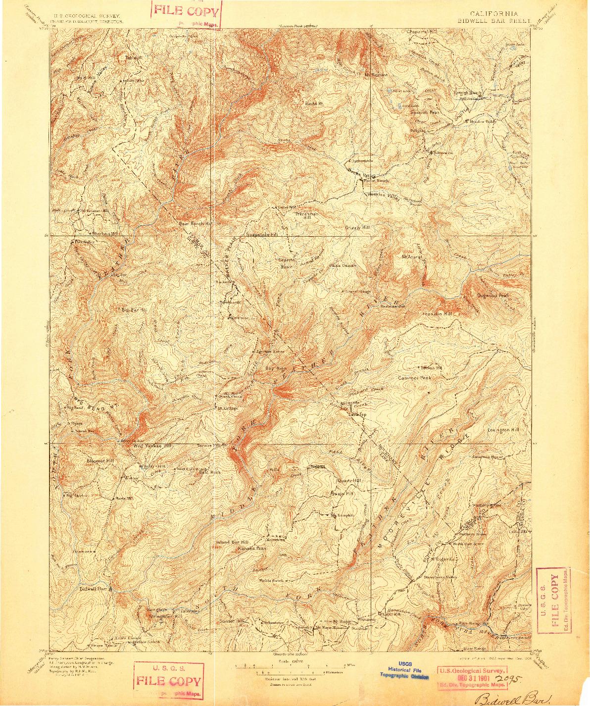 USGS 1:125000-SCALE QUADRANGLE FOR BIDWELL BAR, CA 1897