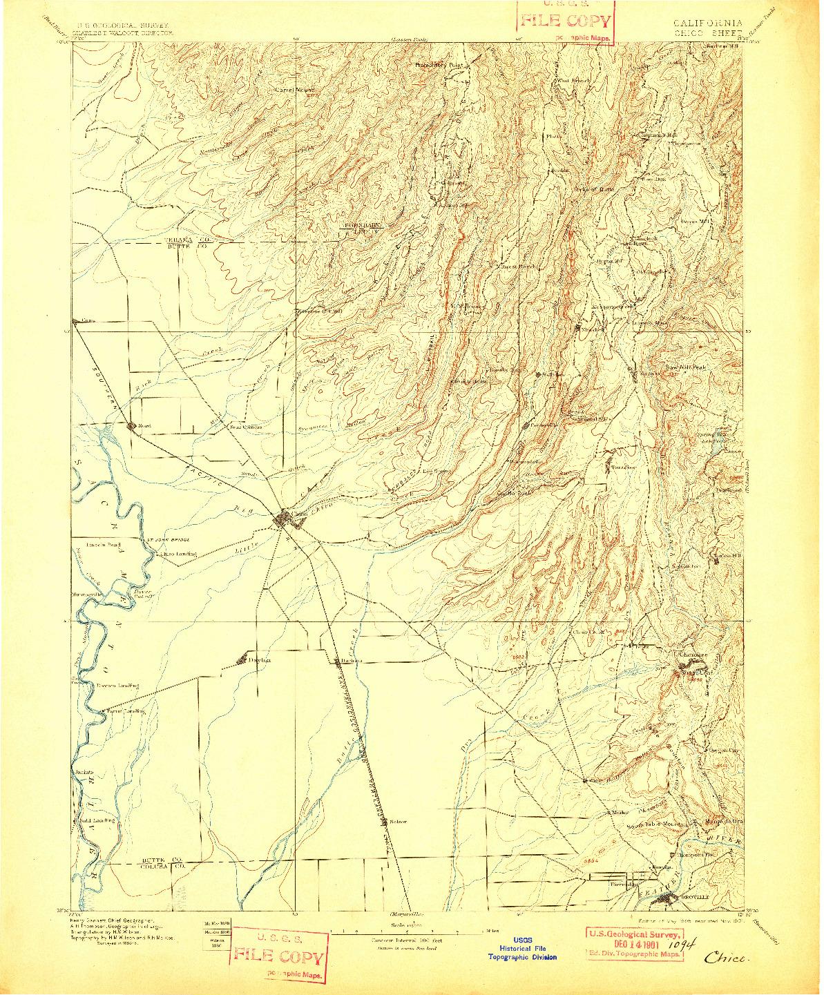 USGS 1:125000-SCALE QUADRANGLE FOR CHICO, CA 1895