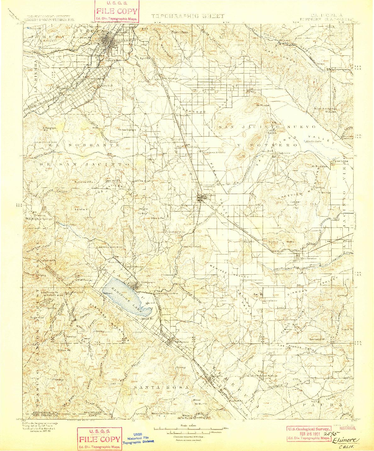 USGS 1:125000-SCALE QUADRANGLE FOR ELSINORE, CA 1901