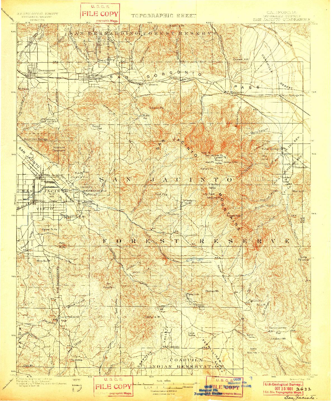 USGS 1:125000-SCALE QUADRANGLE FOR SAN JACINTO, CA 1901