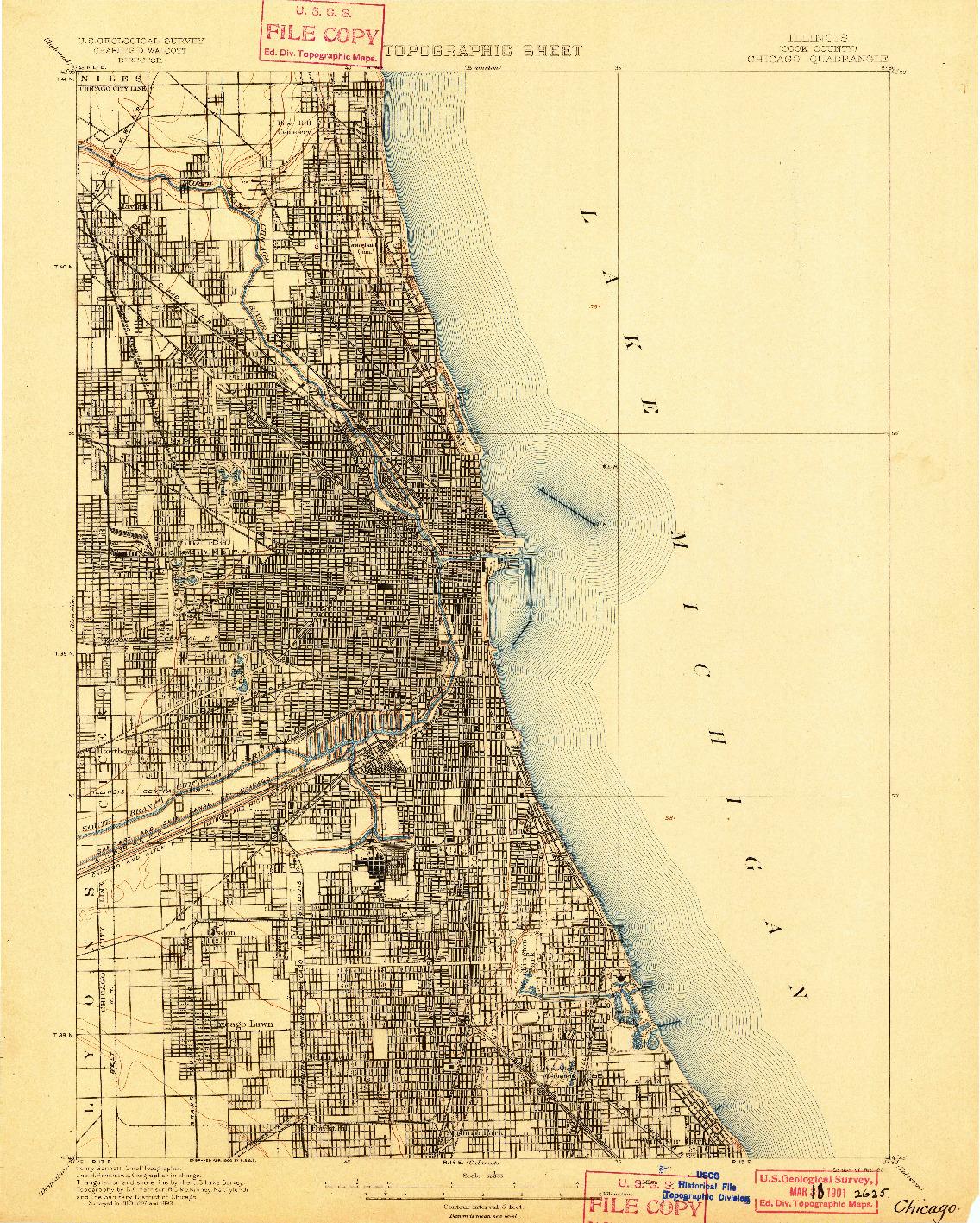 USGS 1:62500-SCALE QUADRANGLE FOR CHICAGO, IL 1901