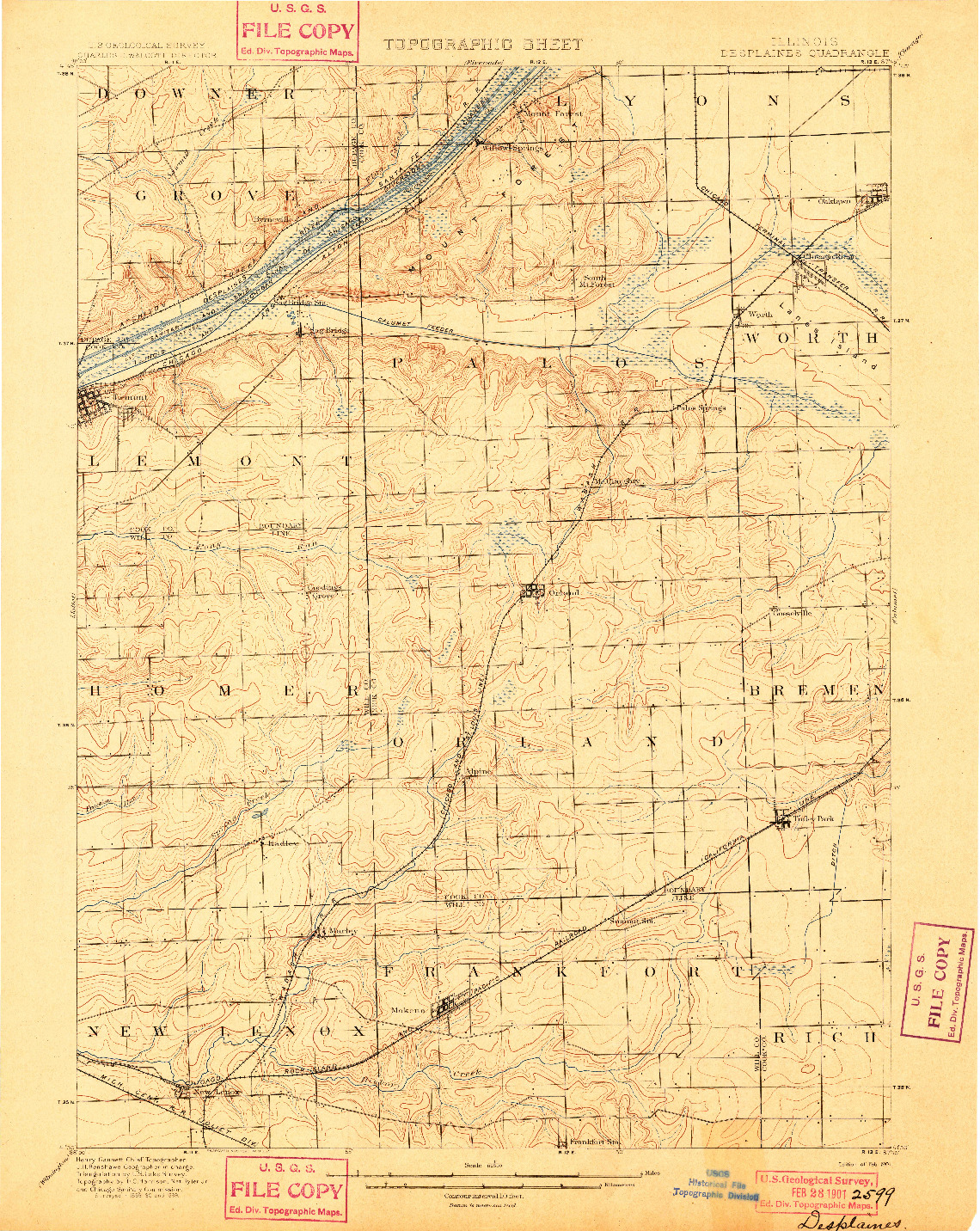 USGS 1:62500-SCALE QUADRANGLE FOR DES PLAINES, IL 1901