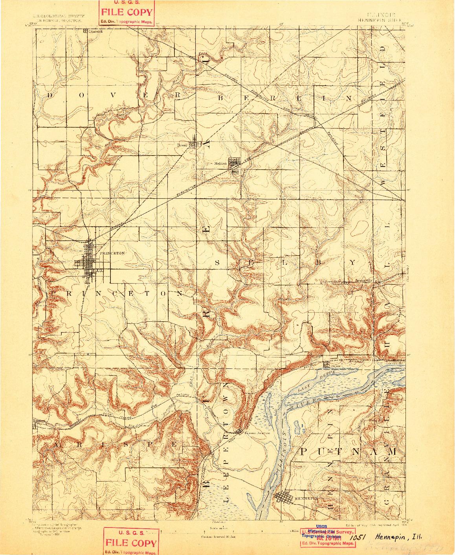 USGS 1:62500-SCALE QUADRANGLE FOR HENNEPIN, IL 1893