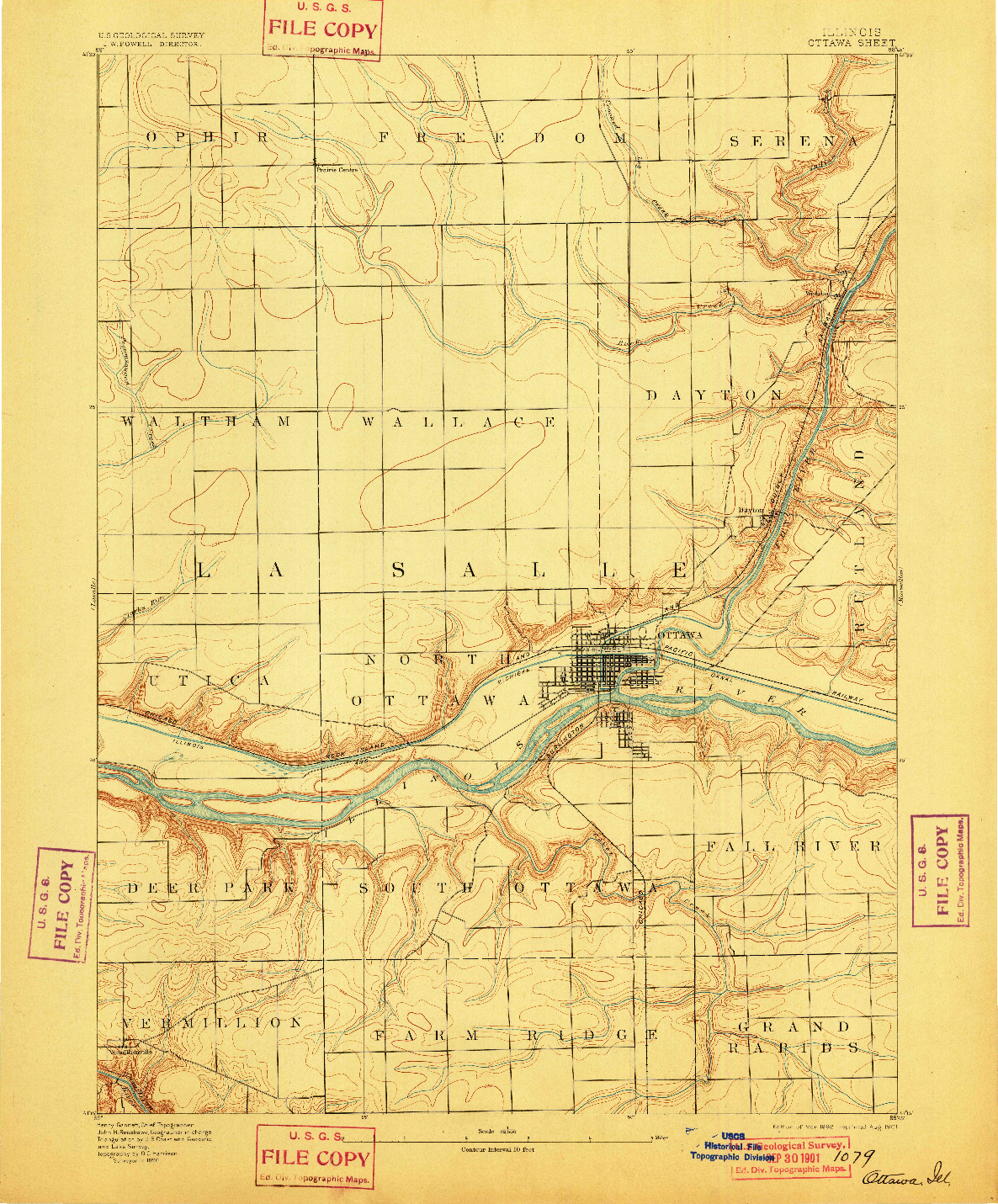 USGS 1:62500-SCALE QUADRANGLE FOR OTTAWA, IL 1892