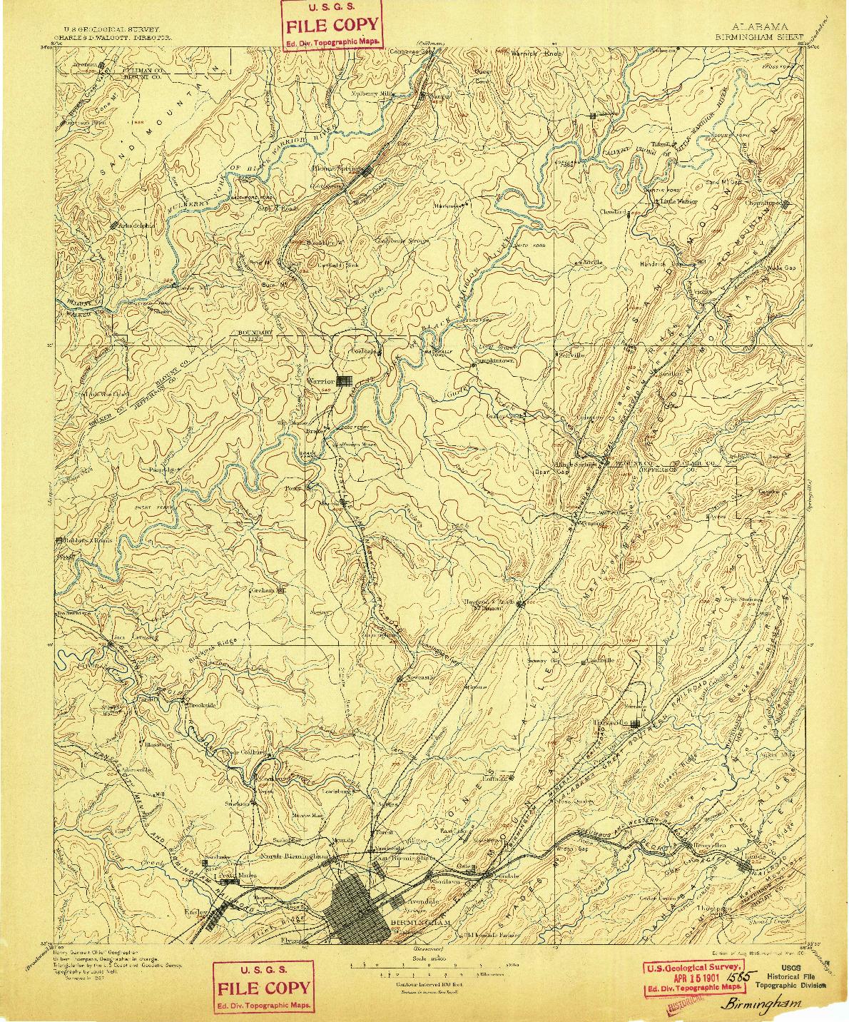 USGS 1:125000-SCALE QUADRANGLE FOR BIRMINGHAM, AL 1895
