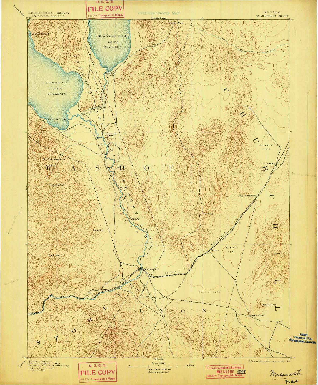 USGS 1:125000-SCALE QUADRANGLE FOR WADSWORTH, NV 1894