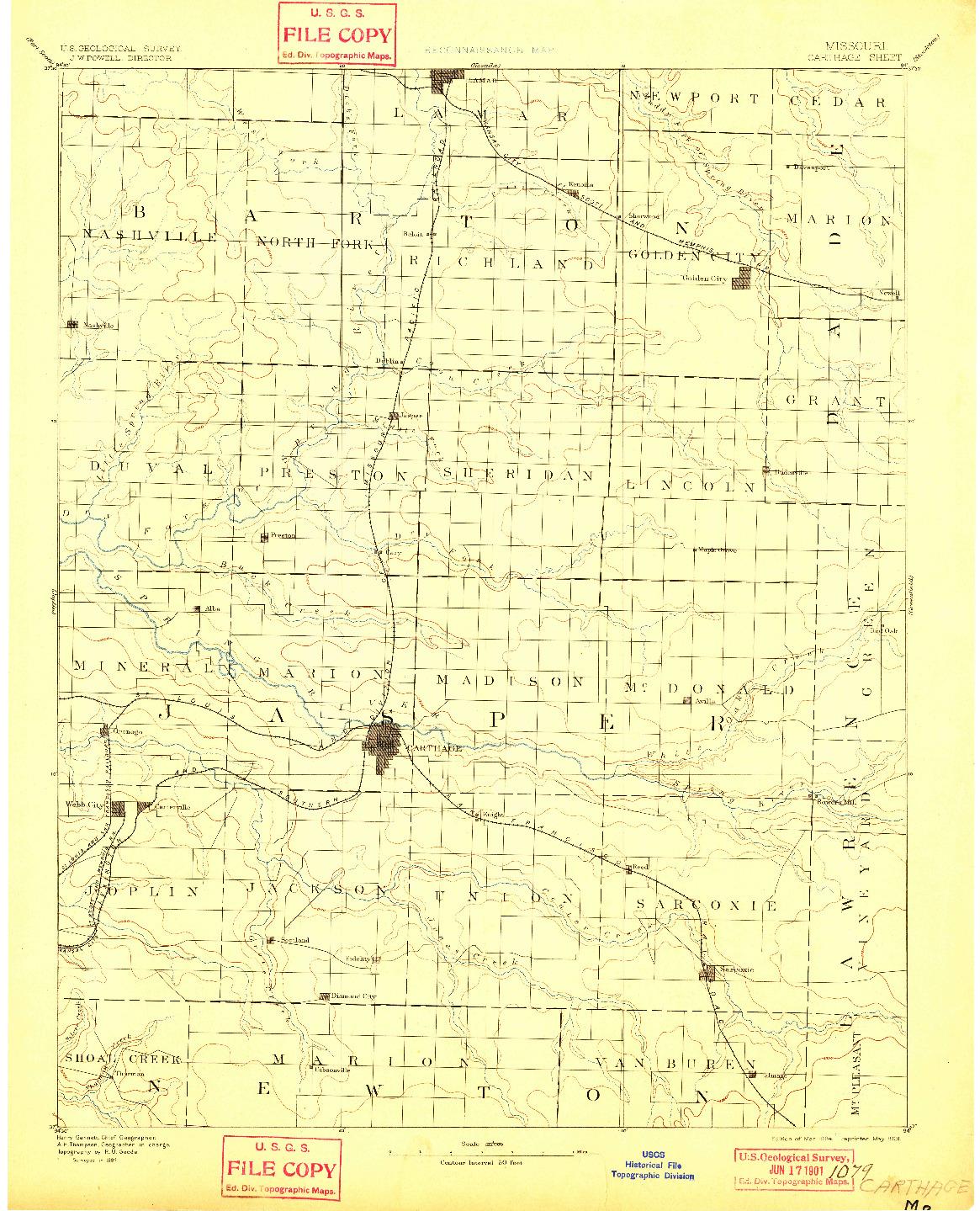 USGS 1:125000-SCALE QUADRANGLE FOR CARTHAGE, MO 1894