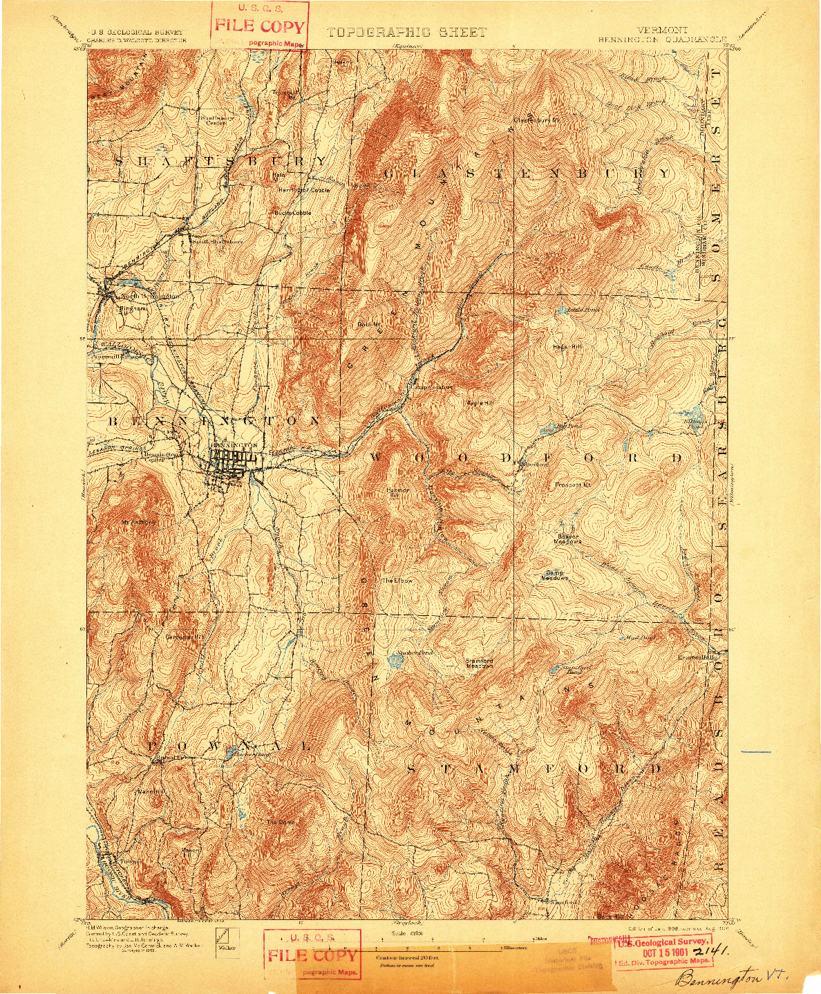 USGS 1:62500-SCALE QUADRANGLE FOR BENNINGTON, VT 1898
