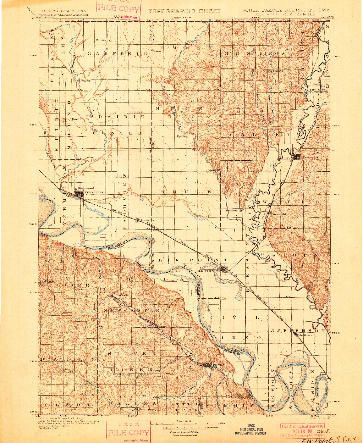 USGS 1:125000-SCALE QUADRANGLE FOR ELK POINT, SD 1901