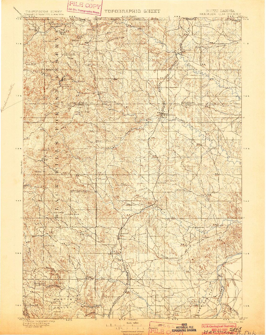 USGS 1:125000-SCALE QUADRANGLE FOR HERMOSA, SD 1901