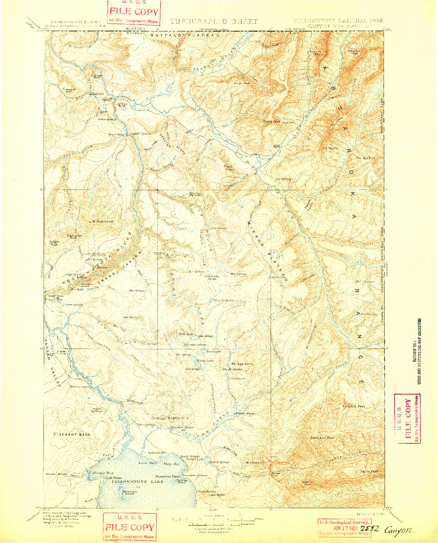USGS 1:125000-SCALE QUADRANGLE FOR CANYON, WY 1901