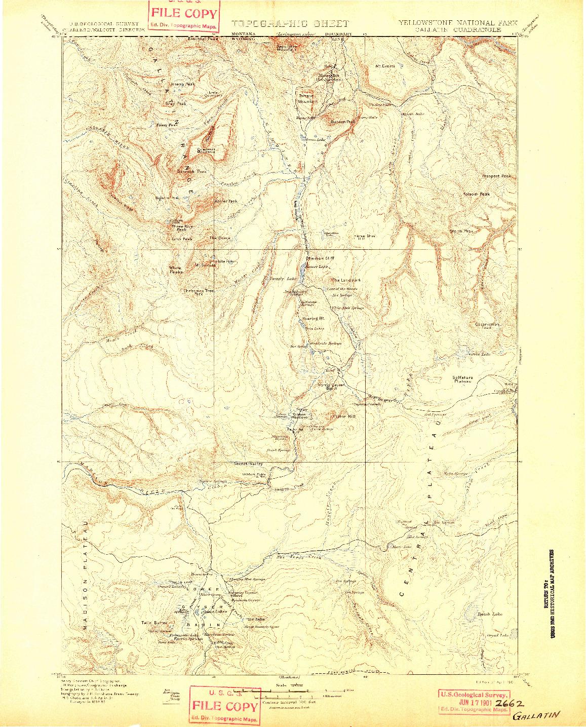 USGS 1:125000-SCALE QUADRANGLE FOR GALLATIN, WY 1901