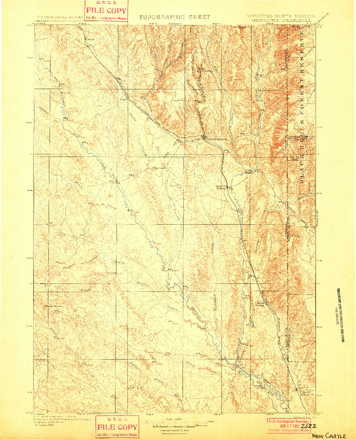 USGS 1:125000-SCALE QUADRANGLE FOR NEWCASTLE, WY 1901