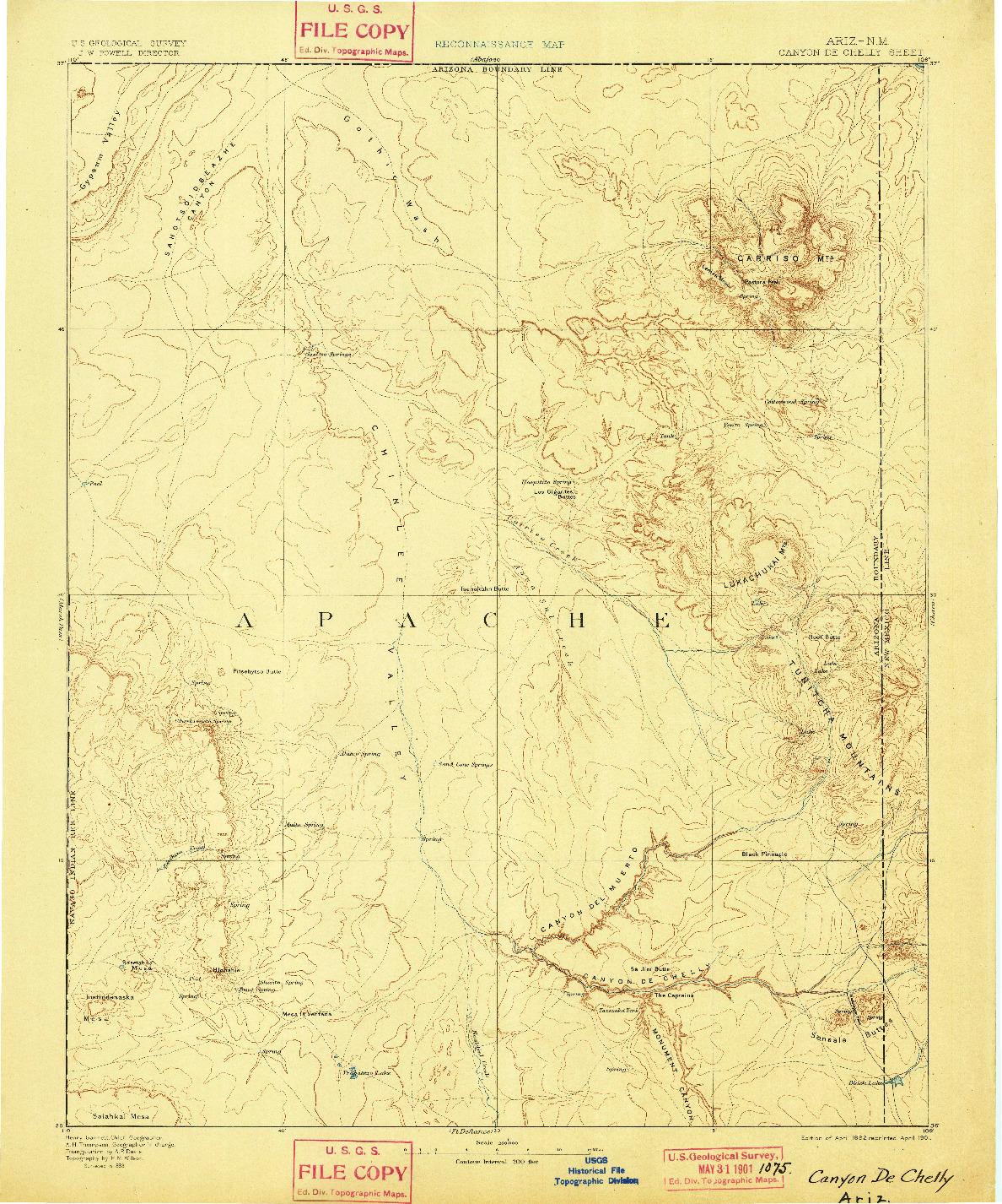 USGS 1:250000-SCALE QUADRANGLE FOR CANYON DE CHELLY, AZ 1892