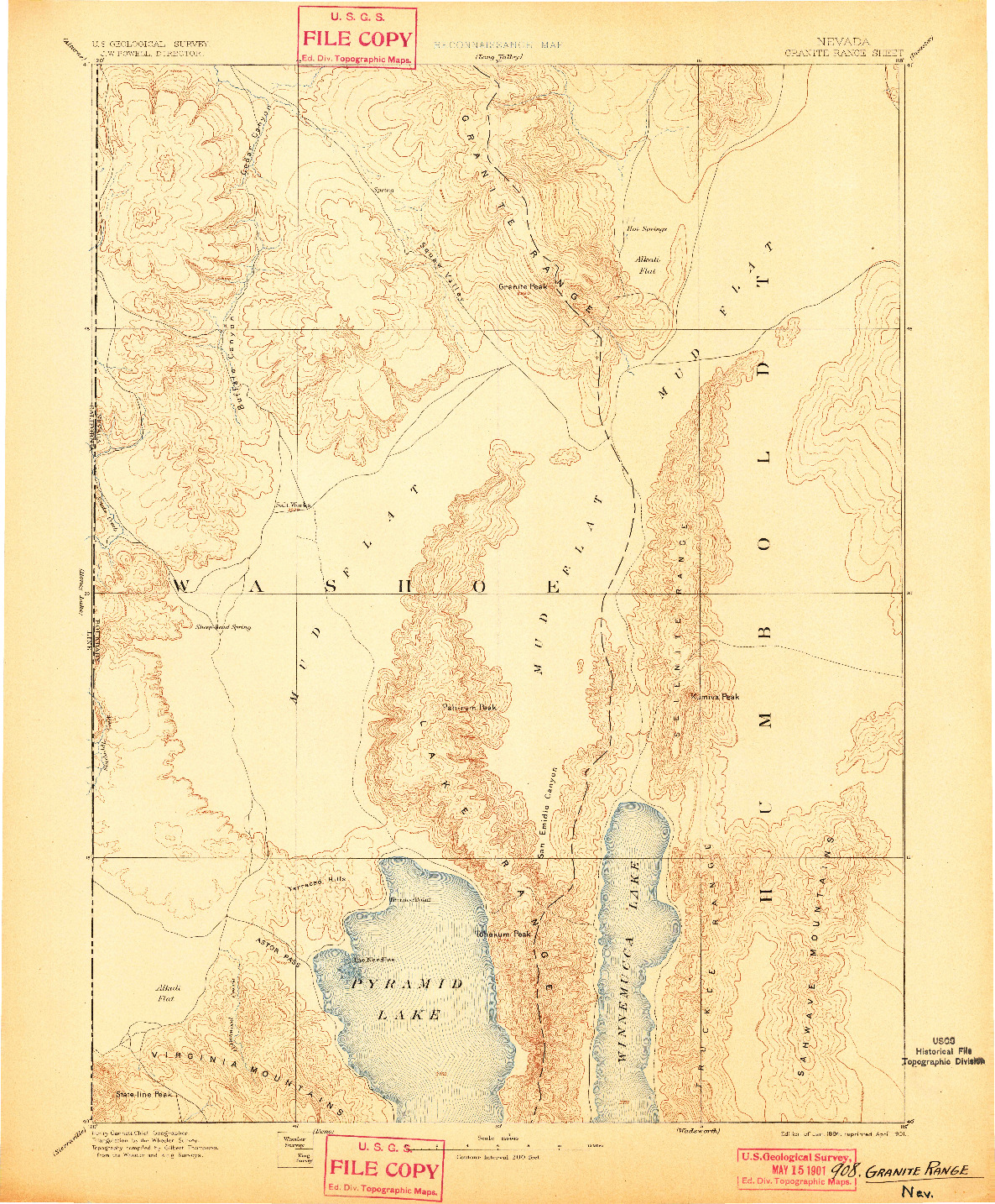 USGS 1:250000-SCALE QUADRANGLE FOR GRANITE RANGE, NV 1894